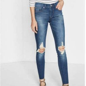 Express High Rise Legging Distressed Skinny Jeans Blue Size 2